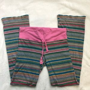 Pink Victoria Secret stripe pajama pants medium